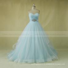 Dernier style sweet heart strapless plissé long train A-line robe de mariée avec ceinture de perles