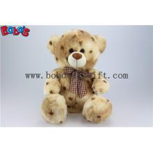 100% Polyester Tie-Dyed Material Gefüllte Teddybären mit Check Ribbon