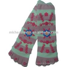 Jacquard lindo hizo punto cinco calcetín del dedo del pie con el remiendo emb