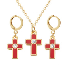 Cross Pendant Necklace Earring Crystal Fashion Jewelry Set For Women