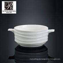 Hotel Ozean Linie Mode Eleganz weiße Porzellan Suppe Schüssel PT-T0600