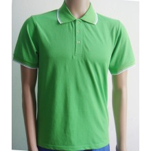 Contrast color ribbon sleeves men Polo shirt