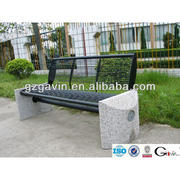 Landscaping stone bench with metal seating chinese furniture
