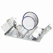 Two tiers stainless steel dish rack, plastic tray and holder
