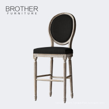 Upholstered furniture french wooden bar stool chair bar with round back