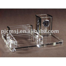 crystal desk decoration with clock /pen holder/card holder