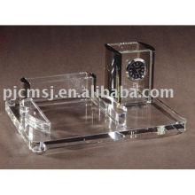 decoração de mesa de cristal com relógio / caneta titular / titular do cartão