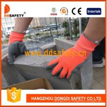 Neon Orange Nylon Grau Latex Handschuhe mit Crinkle Finished Dnl419