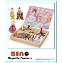 Mädchen verkleiden sich magnetische hölzerne Änderungs-Kleidungs-Puzzlespiel-Spielwaren