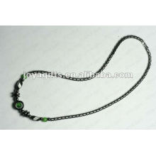 Magnetic Hematite Green Cat's Eye beaded Necklace