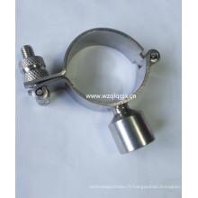 Support de tuyau rond en acier inoxydable avec poignée