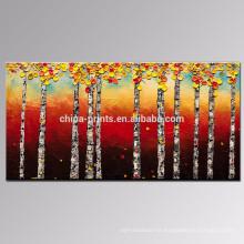 Pintura al óleo del árbol de abedul Pintura al óleo del bosque Arte de la pared del paisaje del otoño