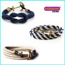 Bracelet de corde coloré bon marché de charme d'ancre fait sur commande de vente chaude de mode