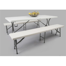 6ft Plastic Folding Table and Bench Set