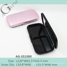 Encantadora retangular compacto pó caso com espelho AG-ES1080, embalagens de cosméticos do AGPM, cores/logotipo personalizado