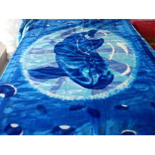 ISO Blue Anti Static Soft Mink Blanket Flower Pattern With