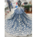 2016 Luxo artesanal flores vestido de casamento últimos Mariage vestidos de baile Alibaba China vestidos de casamento QY-922