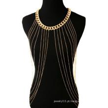 Novo estilo bikini sexy ouro cadeia do corpo cadeia de metal colar