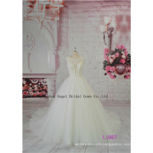 Bateau Neck Chapel Train Bridal Gown Fancy Ruffle Layered