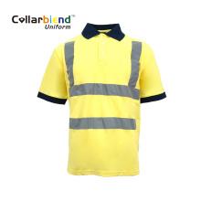 Polo de uniforme de segurança reflexivo amarelo de secagem rápida
