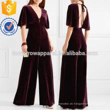 Cape-Effekt Velvet Jumpsuit Herstellung Großhandel Mode Frauen Bekleidung (TA3005J)