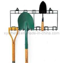 Rack de ferramentas de armazenamento de metal para ferramentas de jardim e gramado