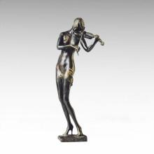 Östliche Statue Violine Musikerin Dame Bronze Skulptur Tple-021