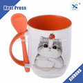 China Factory 11oz Ceramic Mug with Spoon,Coffee Mug with Spoon