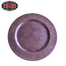 Purple Roses Plastic Plate With Metallic Finish