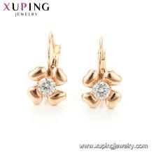 94696 Graceful fantaisie dames bijoux en forme de fleur avec des boucles d'oreilles imitation diamant or cerceau