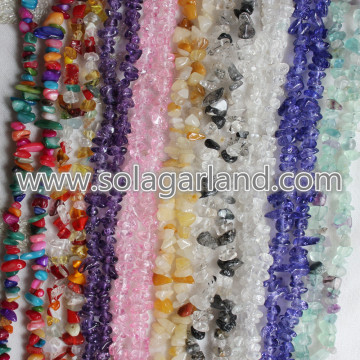 "31.5 ""Comprimento de Cristal Natural Gravel Chip Irregular Beads"