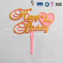 Fabricación caliente de la venta en forma de corazón colorido Cake Toppers Wedding Cake Decoration