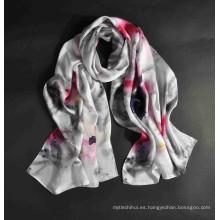 Nueva llegada whosale impresión digital mujeres bufanda de seda turca