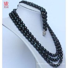Fashion Black Natural Pearl Neckace Bracelet Sets (ES1317)