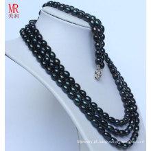 Moda preto pérola natural neckace conjuntos de pulseira (es1317)