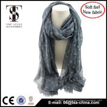 Mezcla de material de alta calidad de impresión animal bufanda de primavera de sensación suave con flocado