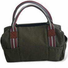 Fabric Handbag, Made of 12oz Washing Canvas with Artificial Leather/210D Lining/Cotton Ribbon Handle