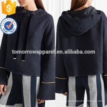 Cadena de la marina de guerra recortada sudadera con capucha del tweed del algodón OEM / ODM fabricación al por mayor de la moda ropa de las mujeres (TA7024H)