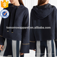 Sweat à capuche en tweed de coton bordé de chaîne marine OEM / ODM Fabrication de vêtements de mode en gros femmes (TA7024H)