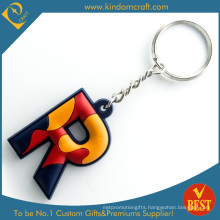 Cheap High Quality Colorful R Letter Logo Rubber PVC Key Ring as Gift From China