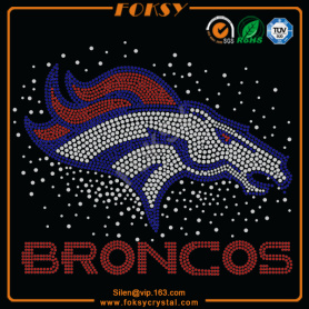 Broncos scattered design rhinestone iron on