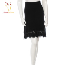 New Women Woven Cashmere Skirt With Lace