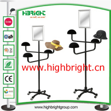 Metal Hat Display Stand with Cosmetic Mirror