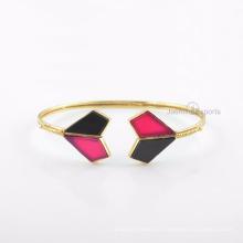 Beautiful Black Onyx Bangle, Hot Pink Calcedônia Gemstone Gold Bangle Jewelry