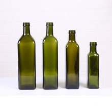 Wholesale Green and Brown Round Square Cooking Olive Oil Glass Bottle 250ml 500ml 750ml 1000ml