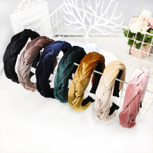 Bandeau Korean Braid Velvet Headband Solid color satin hair band Autumn Winter Wide Hairband for Woman Girl Hair Accessories