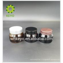 30g visage crème pot de verre crème de fond en verre crème avec couvercle en aluminium en plastique