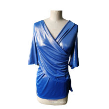 Neueste Shiny Blue V-Neck 3/4 Ärmel Frauen T-Shirt