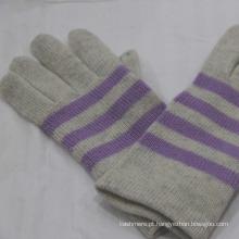Luvas de inverno de cashmere clássicas para homens com barra de cores