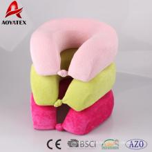 Almohada de cuello suave de color liso para descansar y viajar, almohada en forma de U de buen uso